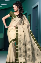 Skin Brown Printed Artificial Silk Saree