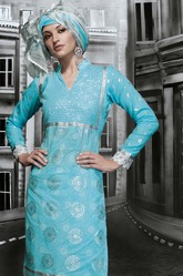 Blue Unstitched Cotton Salwar Suit
