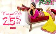 Sangeetatextiles.com - Monsoon Sale @ Flat 25% off