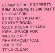 Commercial Property Semi Basement 700 Sq.Ft  in Sansth Vasahat, Baroda