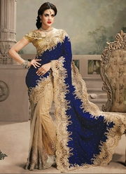 Royal Blue With Brown Embroidery Work Saree