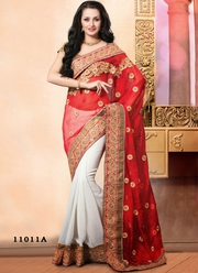 White And Red Designer Saree