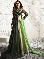 Breezy green ceremonial wear cotton designer salwar suit