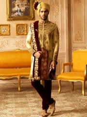Enticing cream and maroon banarasi silk ceremonial wear kurta pyjama