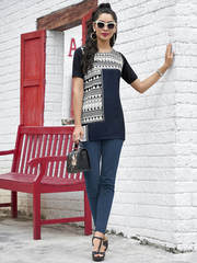 Amazing navy blue polyester and crepe casual wear tunic