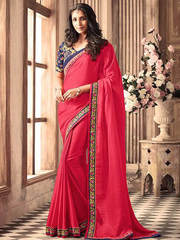 Sultry pink and navy blue silk ceremonial wear designer saree