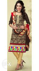 Fancy brown cotton dress material