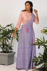 Order One Shoulder Stripe Dress with Floral Top Online for Womens