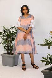 tent dress for womens: Buy polka peach & grey tent dress online - avad