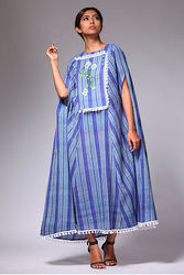 Strip blue cape dress : Buy Cape dress online at best price