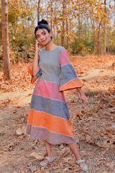 Tea Dress online: Buy multi strip tea dress online - avadhbyavanidhara