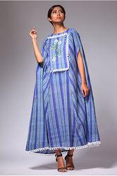 Strip blue cape dress : Buy Cape dress online @ best price.