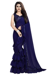 Women's Georgette Ruffle Frill Saree With Blouse Piece (Dark blue)