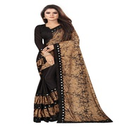 Women's Ethnic Wear Lycra Ruffle Frills Print Saree With Blouse Piece