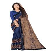 Women's Embellished Fashion Lycra Blend Saree (Dark Blue)