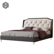 Luxury headboard modern Italian genuine leather bed